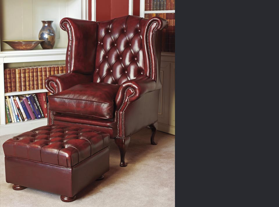 graham leather chesterfield wing chair
