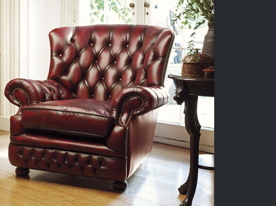 howland leather chesterfield armchair