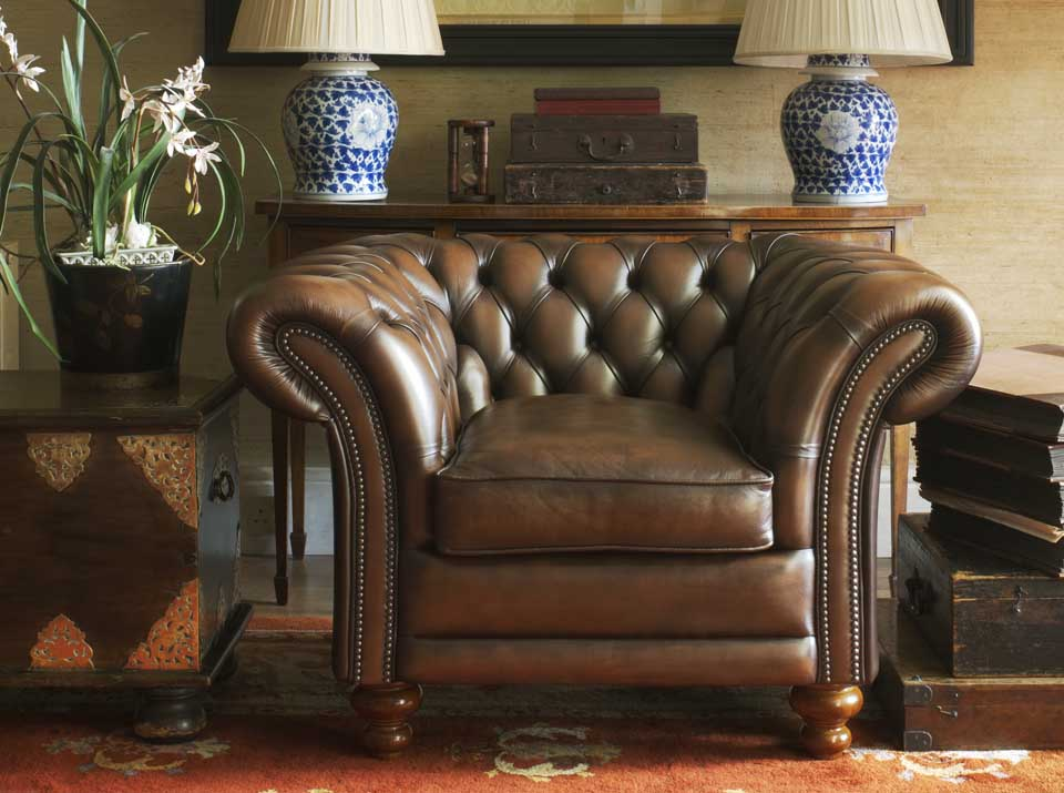 kingston leather chesterfield armchair