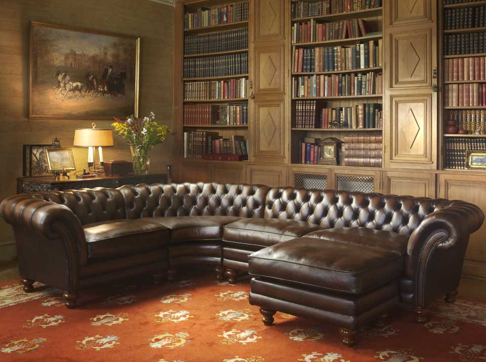 kingston leather chesterfield corner sofa