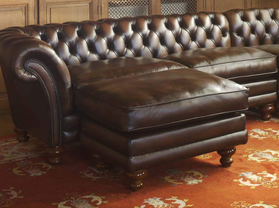 kingston leather chesterfield pouffe
