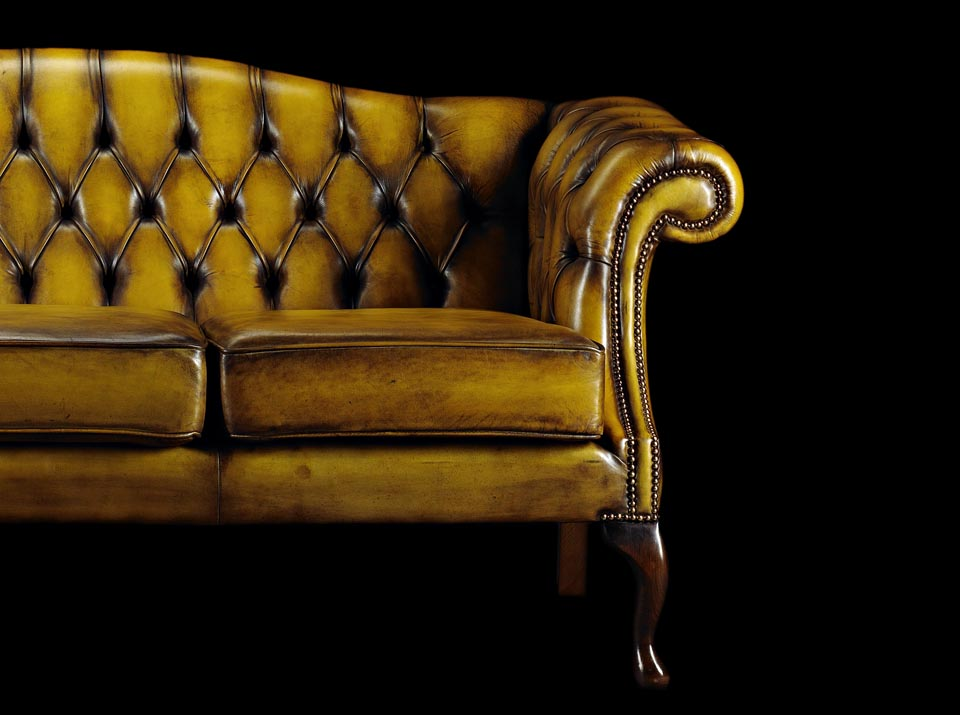 Edmund Burke leather Chesterfield sofa arm