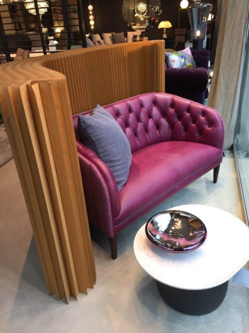 TOBIAS 2 SEATER IN PURPLE SILK LEATHER