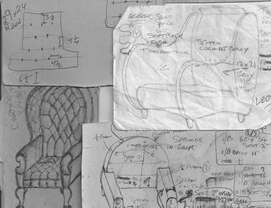 archive sketches of chesterfield sofas