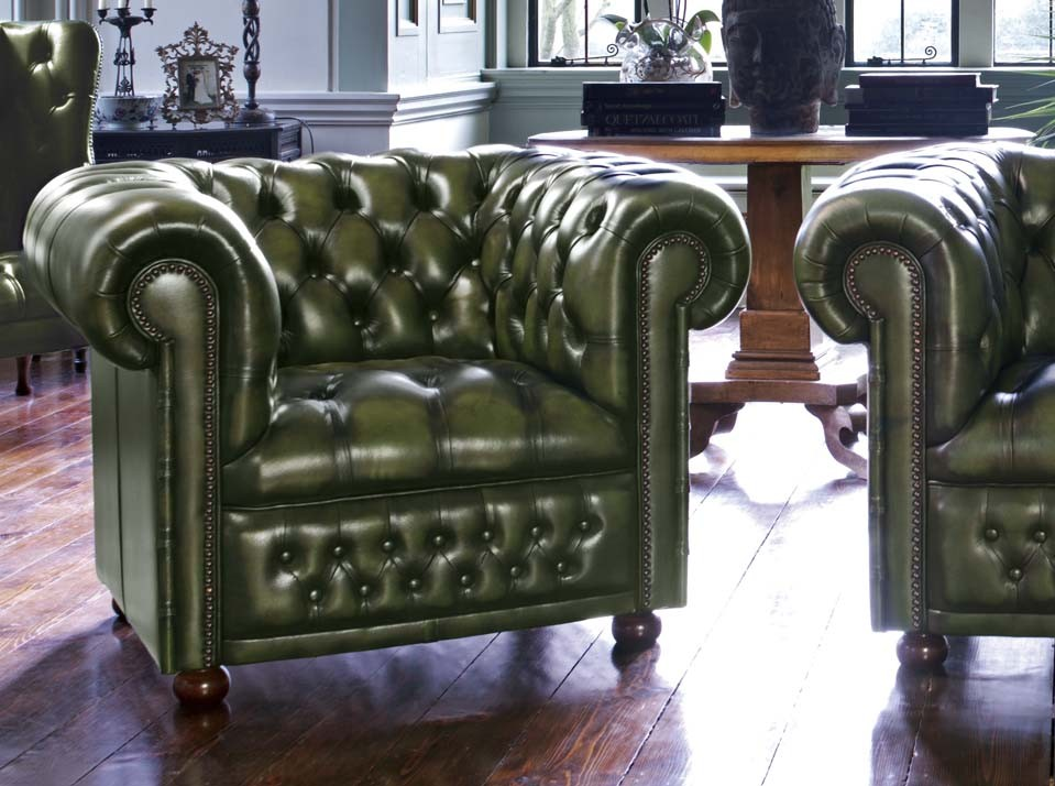 Hamilton leather chesterfield armchair