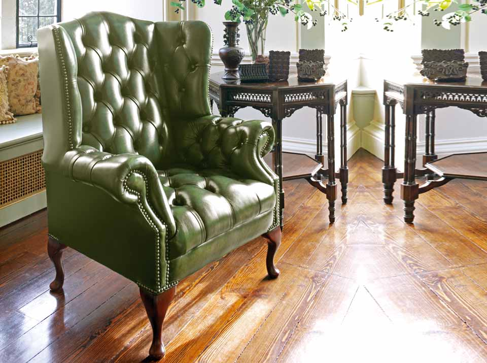 hamilton leather chesterfield wing chair