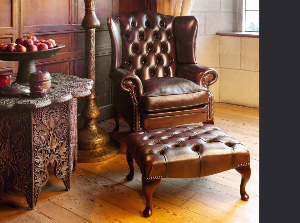stamford leather chesterfield wing chair