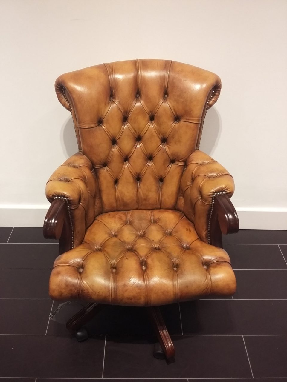 chesterfield chair in brown
